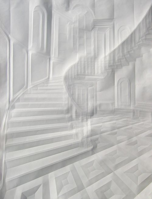 This guy uses creases and folds on plain white paper to create amazing images