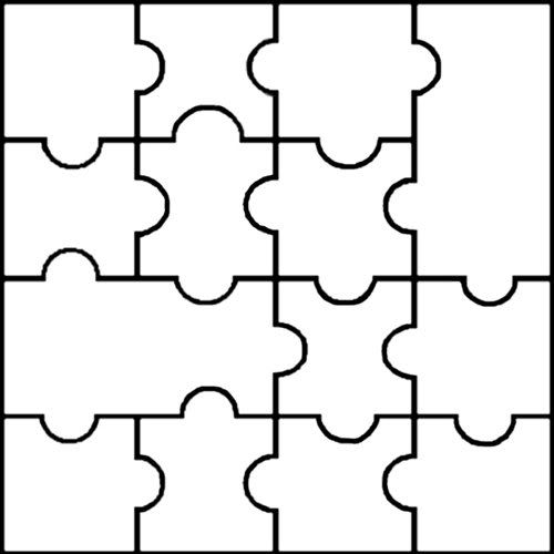 Blank puzzle template - 14 pieces - easy to cut