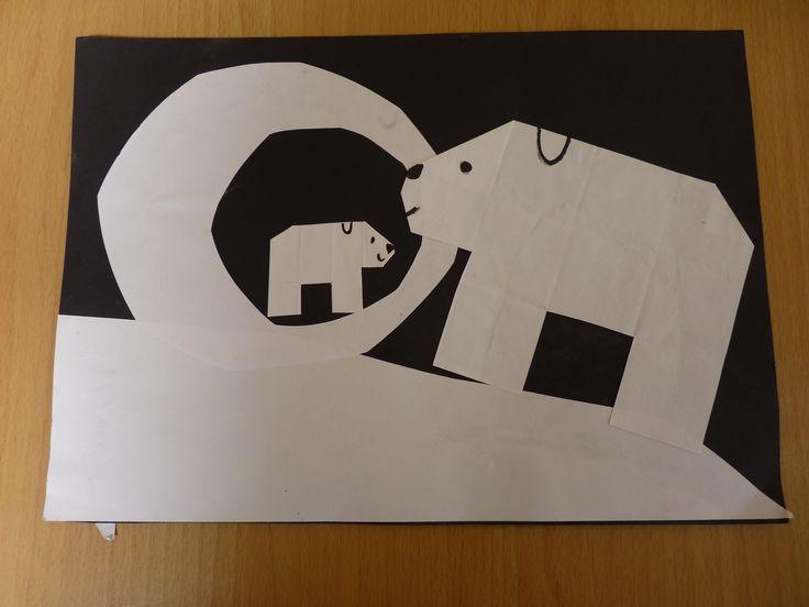 Kleine ijsbeer gevouwen van 16 vierkantjes.