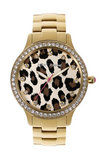 Leopard and Sparkles! - Betsey Johnson Leopard Print Dial Watch   Nordstrom Umm i would wear this watch just because its pretty and still check my phone for the time lol