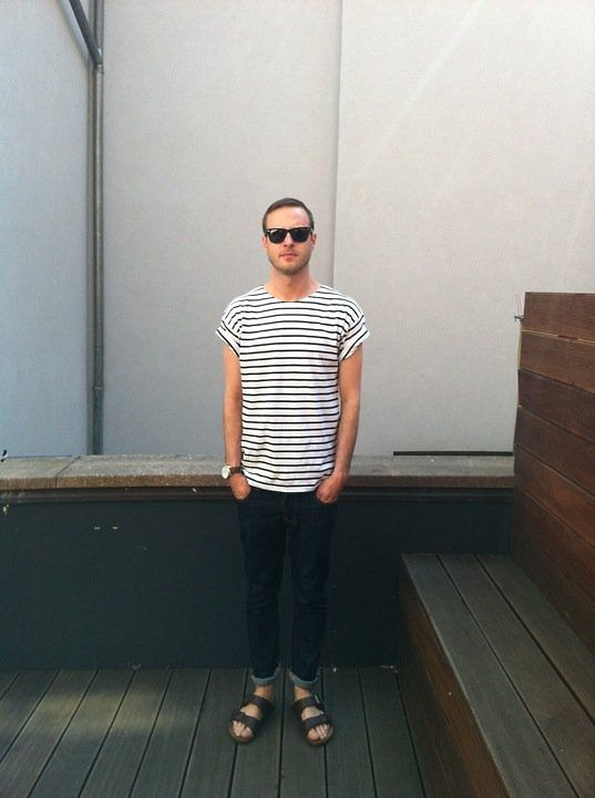 Check out this modern outfit to perfectly compliment his birkenstock sandals!
