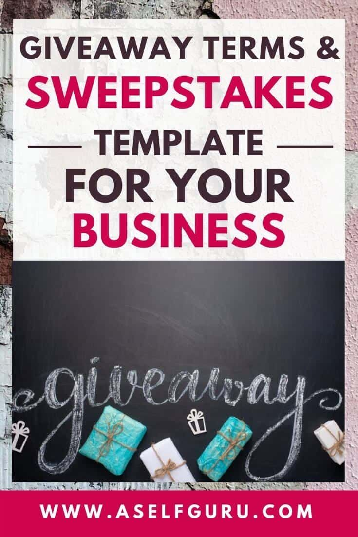 Sweepstakes Template Giveaways And Contest Terms And Conditions Blog Legal Make Money Blogging Sweepstakes