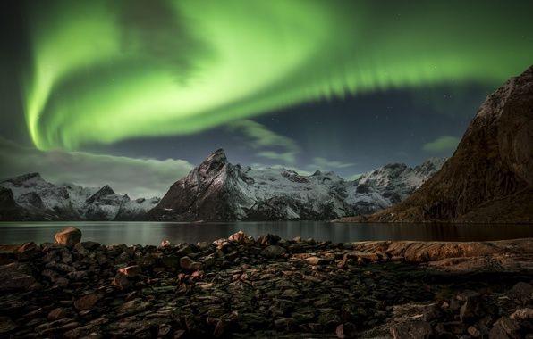 норвегия, лофотенские острова, ночь