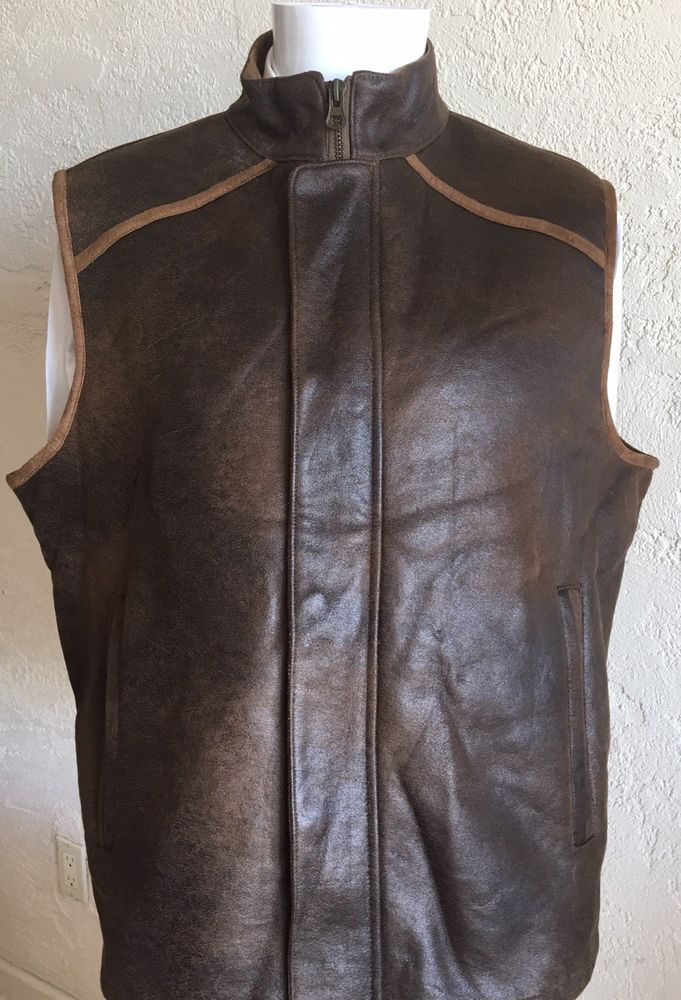 88b10a0171 NEW! Ruff Hewn Mens Vest Faux Leather & Shearling Lined Full Zip ...