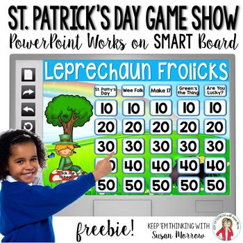 St. Patricks Day Game Free This FREE St. Patricks Day Jeopardy style Trivia Game or Quiz Show has sound effects and a self-scoring scoreboard! This St. Patricks Day Game plays on PowerPoint versions 2007, 2010, 2013, and 2016 AND Macintosh PowerPoint 2013!