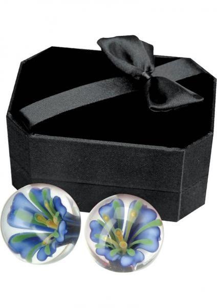 Glass Ben Wa Balls -  Hand blown glass Ben Wa balls with delicate inlaid blossom