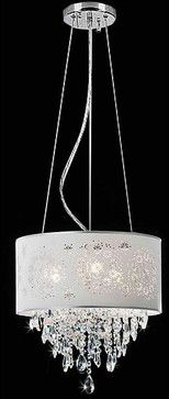 Crystal 3-light Silver Grey Shade Chandelier - contemporary - chandeliers - Overstock.com