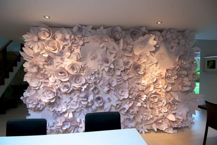 paper flower wall  purple wedding