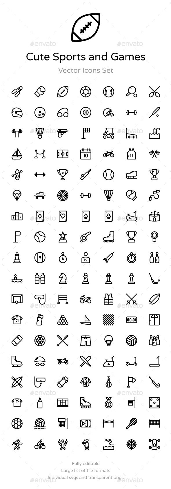 125+ Cute Sports and Games Icons — Vector EPS #tennis #boxing • Download ➝ https://graphicriver.net/item/125-cute-sports-and-games-icons/19191541?ref=pxcr