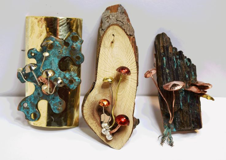 My fungi and lichen brooches, copper, brass and sterling silver, timber and copper patina and enamel paint.