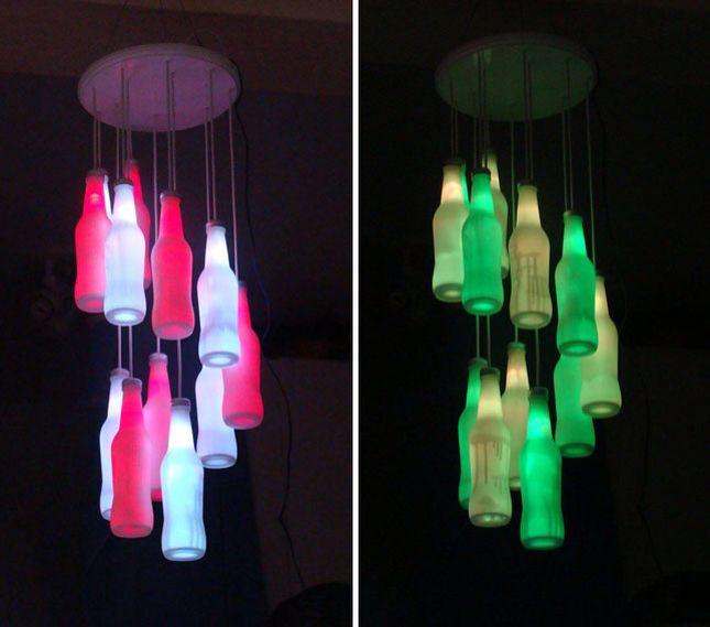 Lamp van een fles en lichten