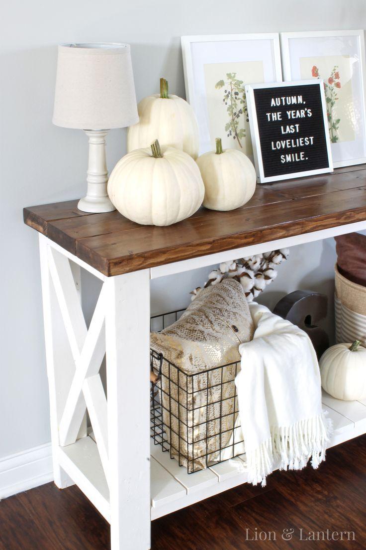 Fall Entryway Decor at LionAndLantern.com - fall decor inspiration, hammered gold vase, white pumpkins, letter board, baskets, cotton stems
