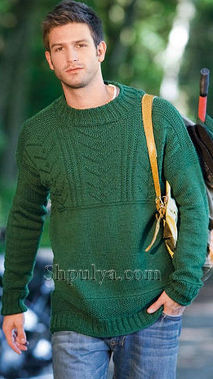 Зеленый бесшовный мужской пуловер, вязаный спицами