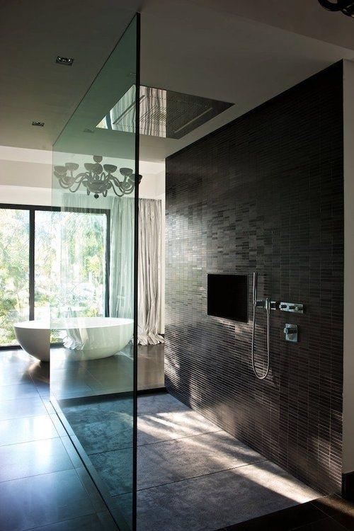modernism minimalism interior design bathroom open mosaic shower