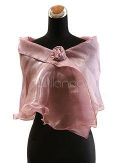 Chal de satén de color borgoña con flor - Milanoo.com