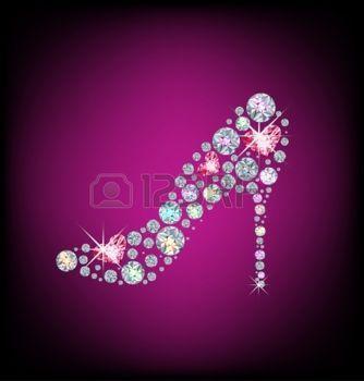 sparkle+heart%3A+Elegante+dames+schoenen%2C+gemaakt+met+glimmende+diamanten+Stock+Illustratie