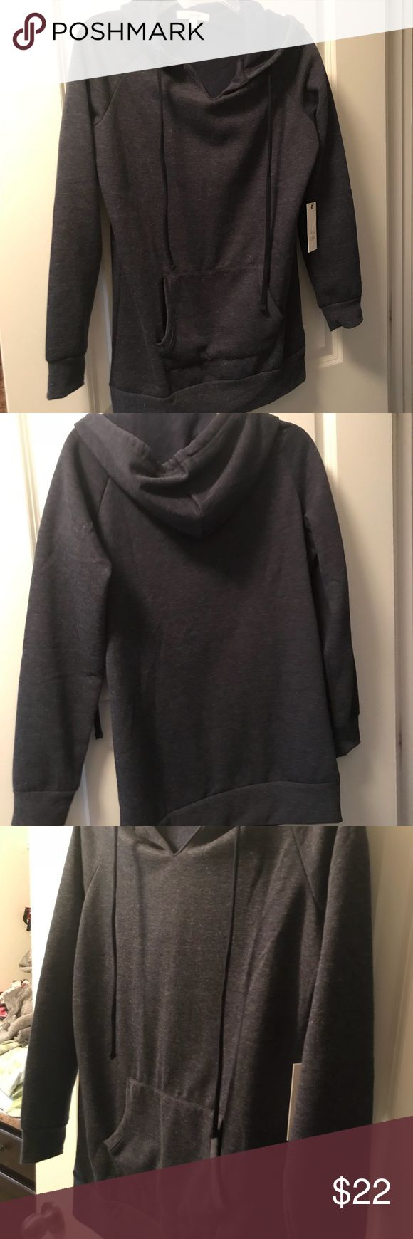 Dark navy hoodie Extra long navy blue hoodie. Match with some comfy yoga pants. active USA Tops Sweatshirts & Hoodies
