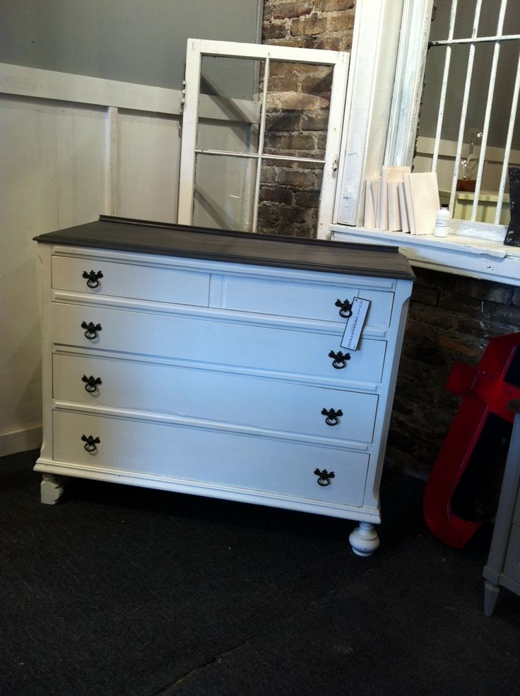 White 4 Drawer Dresser With Restored Gray Top! Lots Of Storage In A Small  Space
