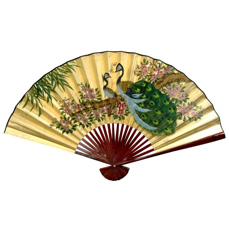Oriental Furniture Gold Leaf Peas Fan Wall D Eacute
