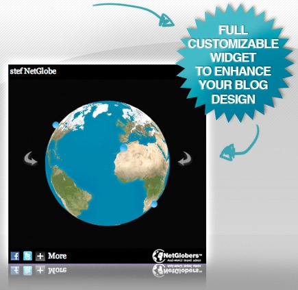 Discover The NetGlobers 3D Globe widget for Wordpress.  Widget Netglobers      The NetGlobers 3D Globe widget for Wordpress. Show your friends where did you go in a funny way !