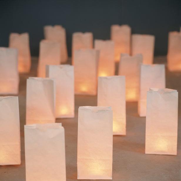 DIY candles in paper bags