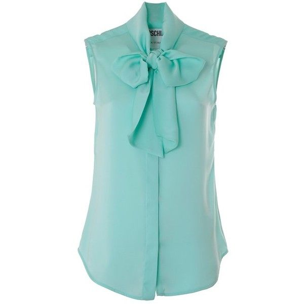 MOSCHINO Pussybow blouse (£130) ❤ liked on Polyvore featuring tops, blouses, shirts, blue, moschino, polyester shirt, blue sleeveless top, pussy bow blouse and bow neck blouse
