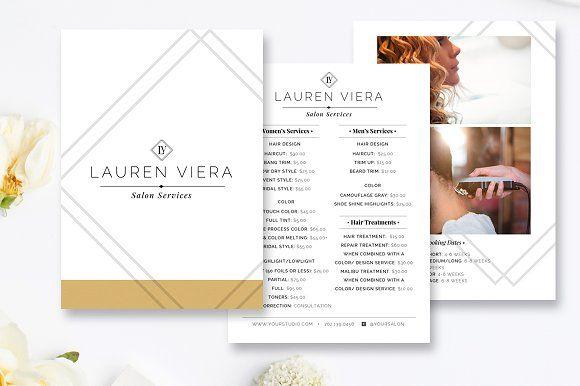 Hairstylist Price Menu Salon Menu Salon Menu Bi Fold Brochure Menu Template