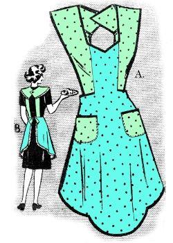 Vintage Fashion Library - Vintage 1940s Bib Full Apron Pattern 112 Reminds me of my Grandma.