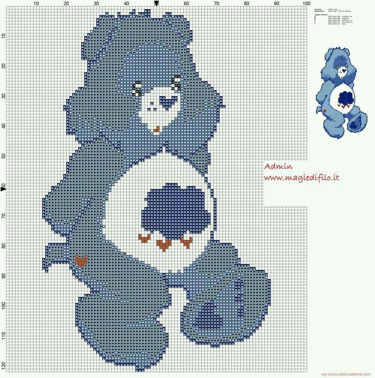 Grumpy Bear cross stitch pattern.