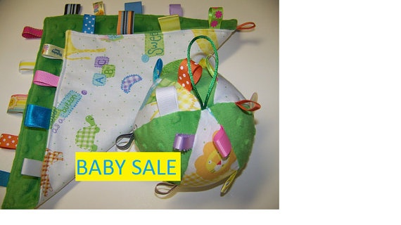 Baby Sale Taggie Ball & Minky Blanket in by civilwarlady on Etsy, $19.95