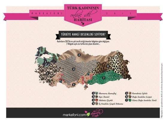 2012'nin en çok tercih edilen desenleri bölge bölge değişiyor. Ege dantel deseni tercih ederken, Marmara kamuflaj desenini, Doğu Anadolu ise leopar desenini seviyor.