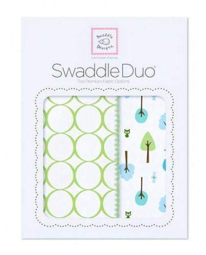Babytepper i gavepakning - 1 stk flanellteppe & 1 stk marquisette gas-teppe.SwaddleDuo -Cute and Calm, kiwi.   SwaddleDesigns® Store, fine og luksuriøse gavepakninger (28x21 cm) m/2 teppealternativer. En nyttig startpakke til baby & lekker gave! ♥ Delikat babyteppei flanell (Ultimate Swaddle Blanket).Grønne sirkler og kantsøm (Mod Circles on white, kiwi).* Tynnere teppe i lun bomullsflanell, børstet for mer bløthet.* Et allsidig teppe med mange muligheter og i sjener�...