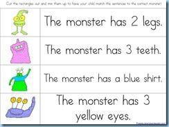 Monster Kindergarten Printables