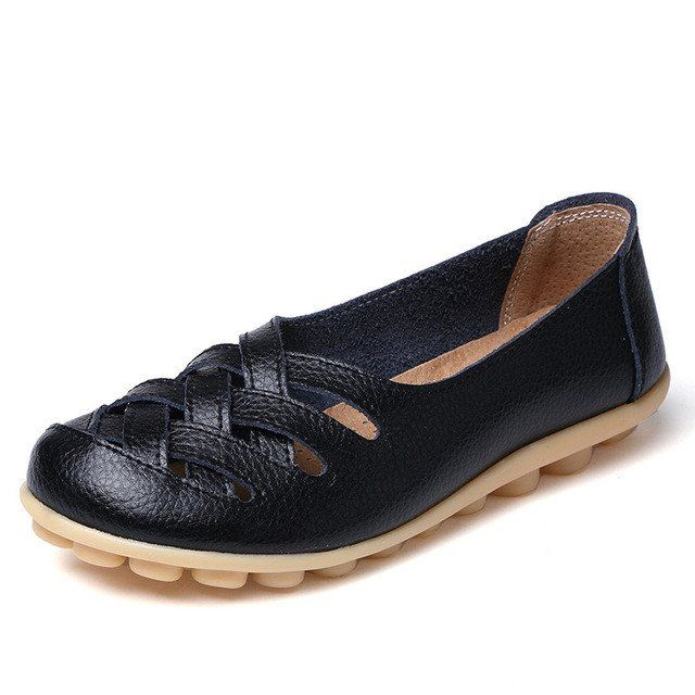 Striking Black Casual Comfy Smooth Shoes with Lattice Hatched Upper - – Nodule Shoe