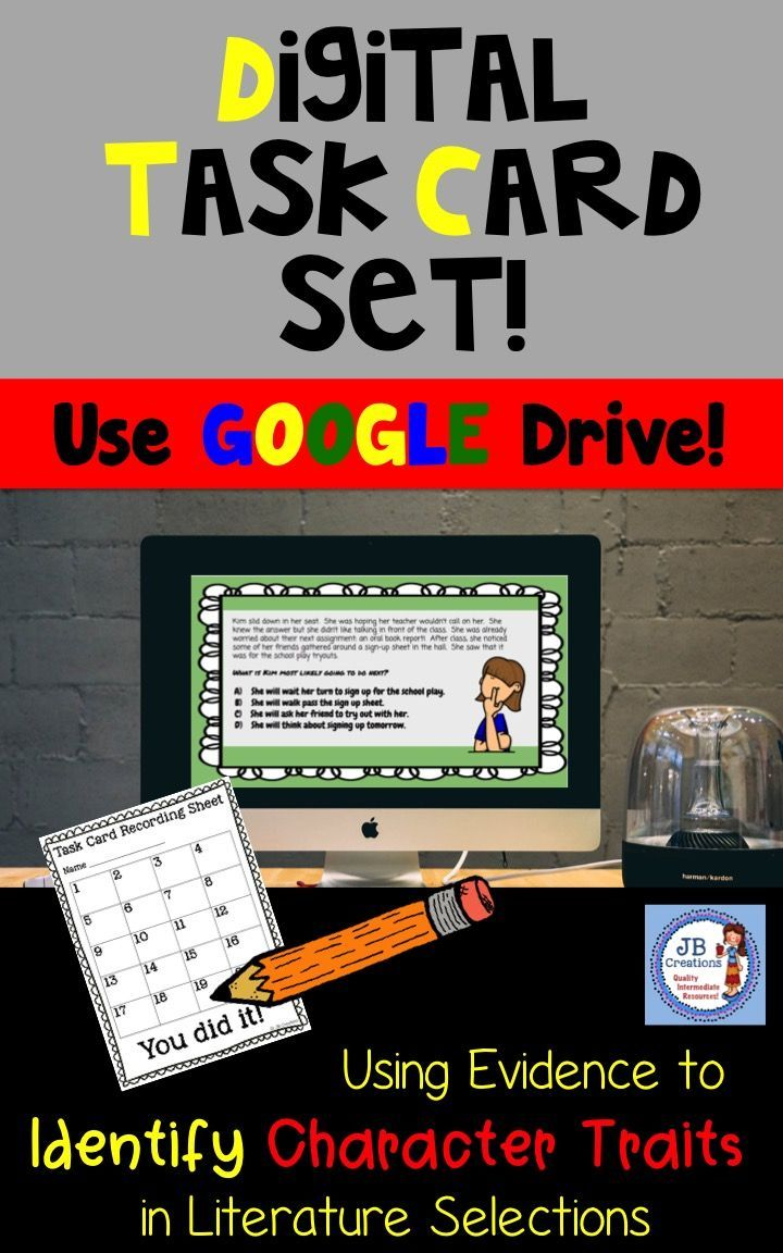 Character Trait Digital Task Cards (for Google Drive