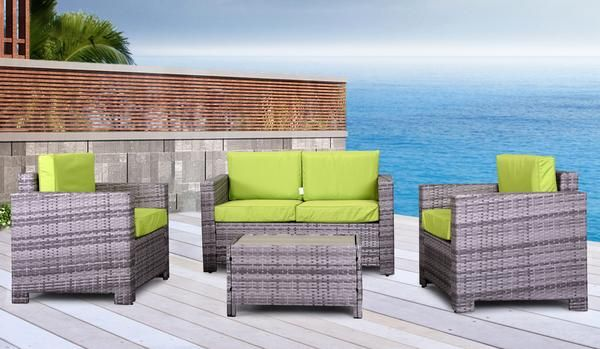 Eden Rock Collection - Designer Outdoor Garden Patio 4-Piece Waterproof Cushion Rattan Wicker Loveseat Chair and Coffee Table Furniture Set.