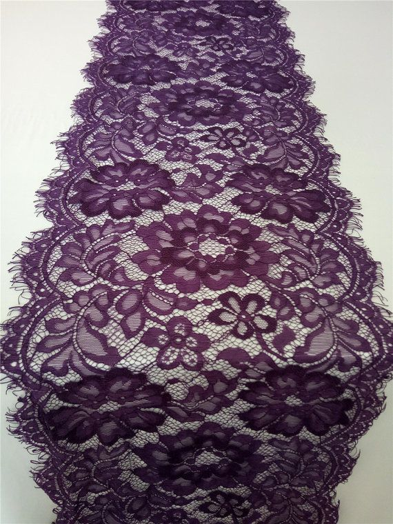 "Purple Lace Table runner, 10"" , purple table runners, wedding table runners…"