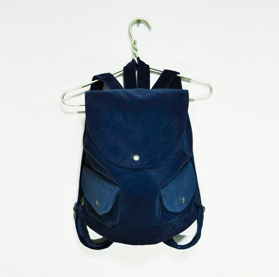 Velvet Navy Backpack, Blue velvet rucksack, city back pack, light backpack, women's rucksack, womans backpack, fabric backpack, velvet purse
