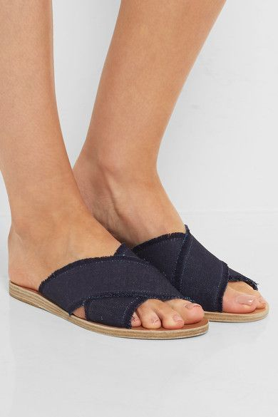 Heel measures approximately 5mm/ 0.5 inches Dark-blue denim  Slip on