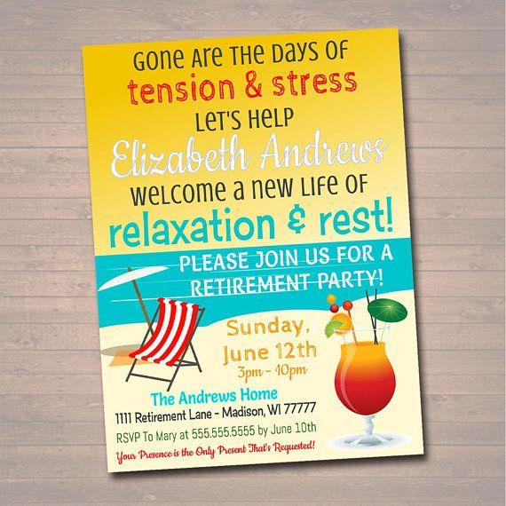 Editable Beach Retirement Invitation Tropical Printable