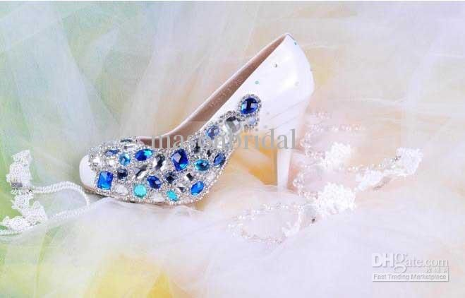 Wholesale 2013 Gorgeous Hot Sexy Women Ladies High Heel Royal Blue Diamonds Sequins Wedding Bridal Shoes, Free shipping, $128.8-151.2/Piece   DHgate