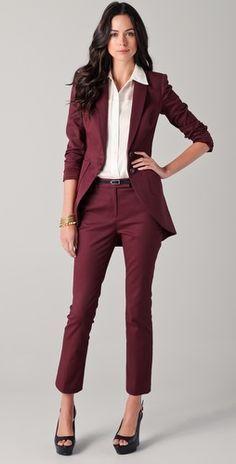 womens burgundy pants suit - seasons new color