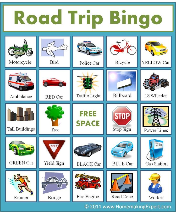 It is a picture of Accomplished Road Trip Bingo Printables