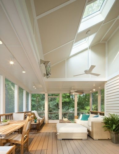 This screened porch has been made into an all-seasons room.
