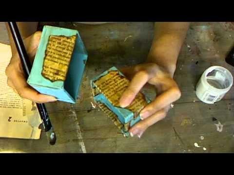 decoupage antique book pages