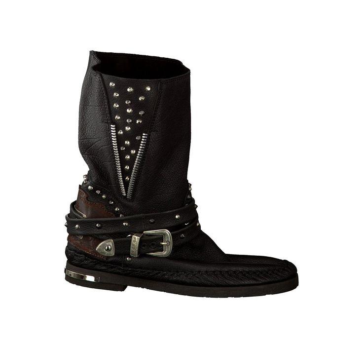 Karma of Charme Flache Booties für Damen in Schwarz Flache Stiefeletten mit einer Absatzhöhe von 0 - 3 cm 386285 schwarz Leder - Damenschuhe im Online-Shop von Juppen