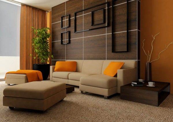 Salón naranja, beige y chocolate