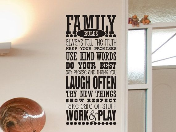 Family Rules Vinyl Lettering Wall Decal Family Room Living Room Wall Decor x