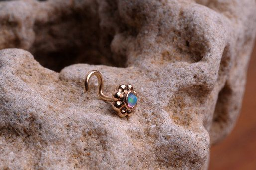 NOSE Ring STUD 14k yellow gold filled with synthetic Opal  Handcrafted Also Cartilage or ear stud. $14.95, via Etsy.