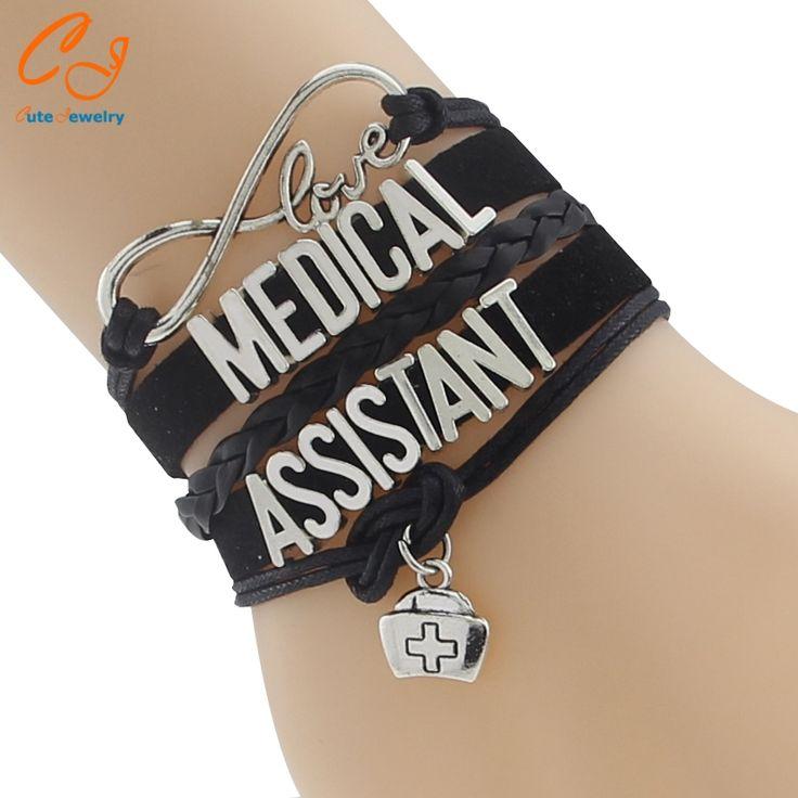 Popular fashion braided bangles Medical Assistant Bracelet medical symbol bracelets Velvet leather Jewelry Job Career Gifts
